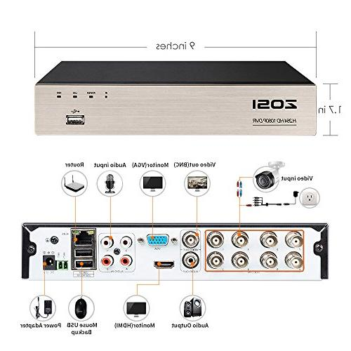 ZOSI HD-TVI Security System Drive 8 2.0MP 1920TVL Security PC Easy