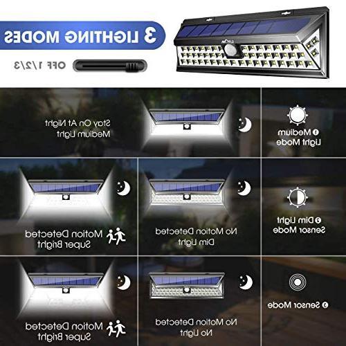 LITOM Enhanced Version Lights Outdoor, 54 LED Super Plating Lights Solar Powered Security Lights for Front Yard, Garage,