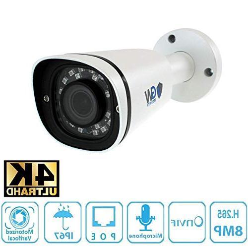 GW UltraHD 4K Video Motorized NVR 8 Megapixel 2.8-8mm Zoom Waterproof PoE Cameras