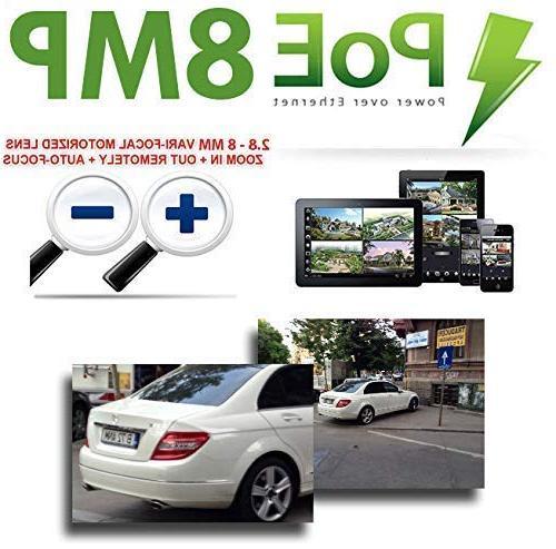 GW 8 Video Motorized NVR 8 x Megapixel 3X Optical Zoom Waterproof PoE Cameras Built-in