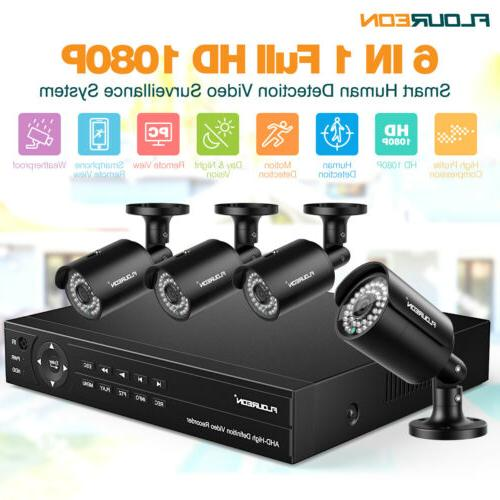 6IN1 1080P Smart Home Security Camera System Outdoor 8CH Nig