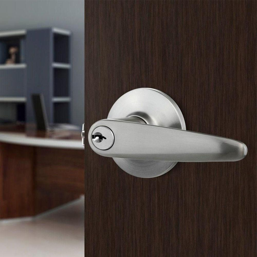 Home Security Handle Door Lockset Satin Nickel Bronze