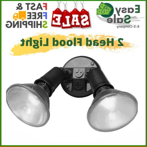 2 Head Flood Light Home Outdoor Security Mount Adjustable St