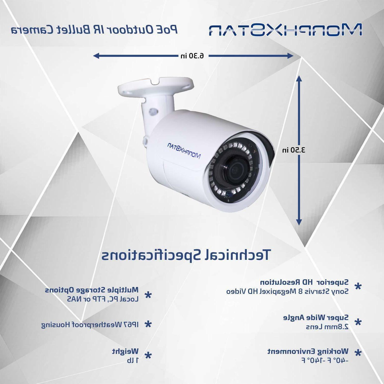 MXS 8CH NVR POE Bullet 4K Camera System Surveillance