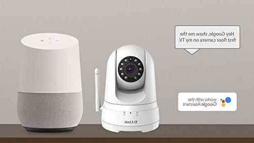 D-Link Pan/Tilt/Zoom WiFi Indoor Security Camera/ Cloud Recording, 2-way Audio, Motion Detection Night Amazon Alexa Echo TV, Google Assistant DCS-8525LH-US