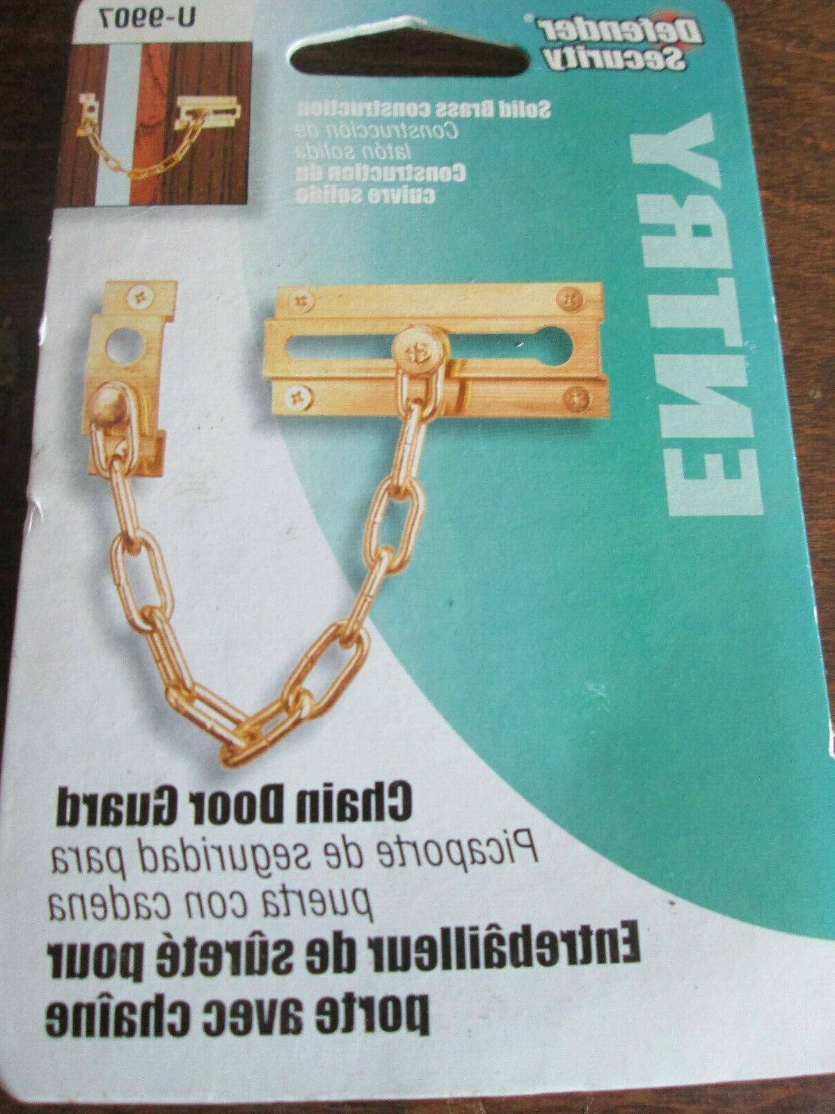 """New Prime-Line 3-7/16"""" Chain Door Guard Solid Brass Defender"""