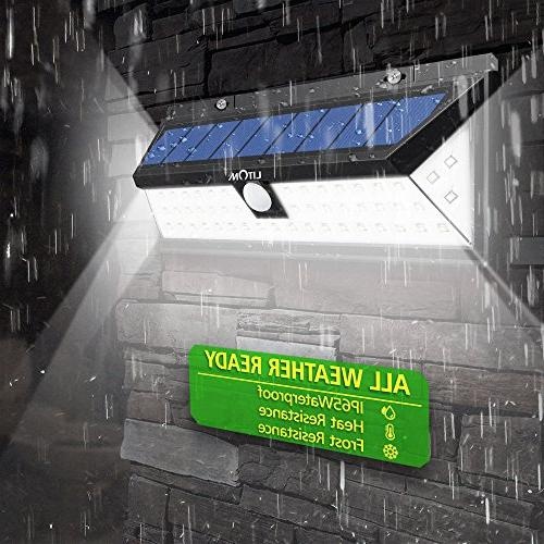 LITOM Solar Lights Outdoor, 54 Super 270°Wide Angle Lights, Waterproof Solar for Front Door, Yard, Garage, Porch,