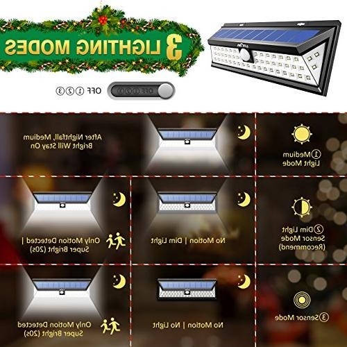 LITOM Solar 54 LED 270°Wide Motion Lights, Wireless Security Solar Light Front Door, Yard, Garage, Porch, Shed,