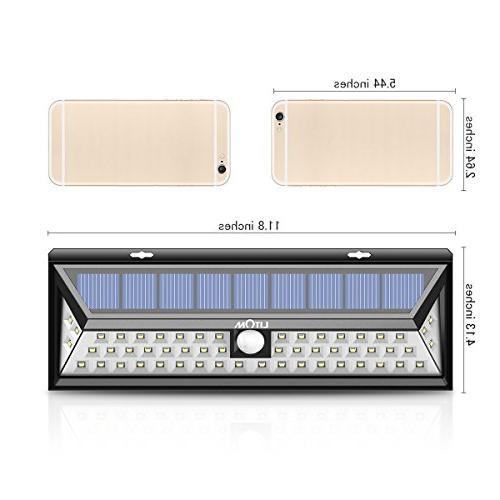 LITOM 54 270°Wide Angle Lights, Waterproof Solar Light for Front Door, Yard, Porch, Walkway, Fence