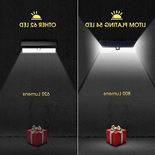 LITOM Solar Lights 54 LED Super Bright 270°Wide Angle Motion Sensor Lights, Wireless Waterproof Solar Front Door, Porch, Walkway,