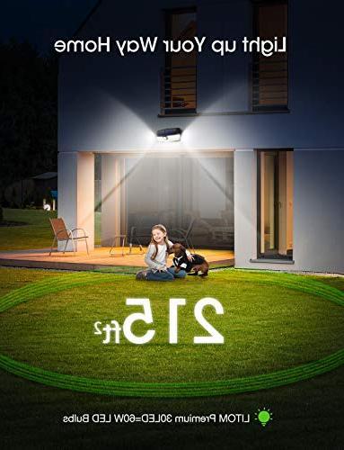 LITOM 30 LED Lights Waterproof Wireless Motion Sensor Easy-to-Install Front Yard, Garage, Deck-2 Pack