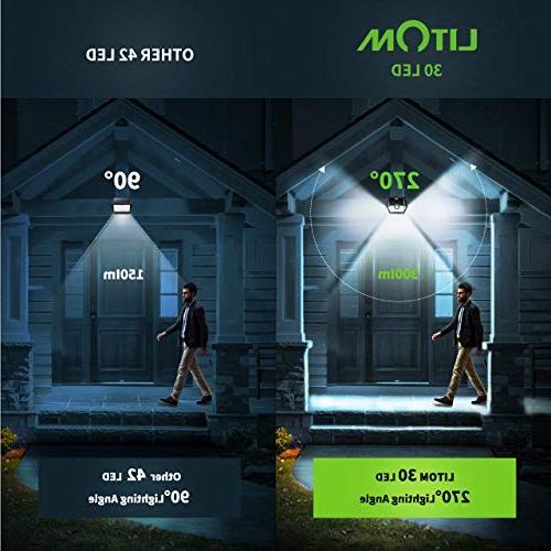 LITOM Upgraded Solar Wireless IP65 Solar Sensor Lights Lighting Modes, Angle Easy Install Front Door, Yard, Garage