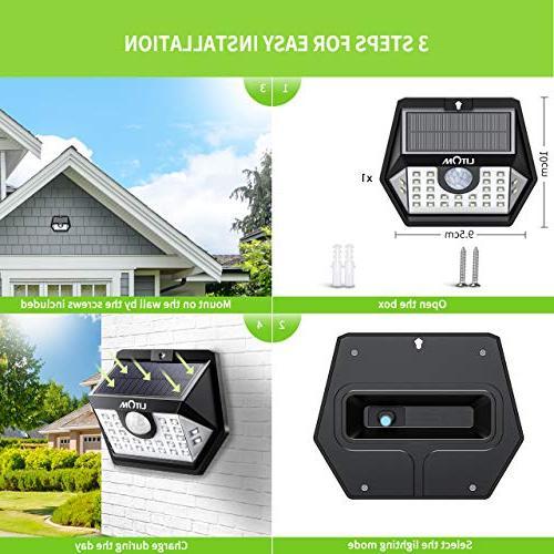 LITOM Upgraded Solar Lights Outdoor, IP65 Solar Motion Sensor Lights Lighting Angle Install Front Door, Yard,