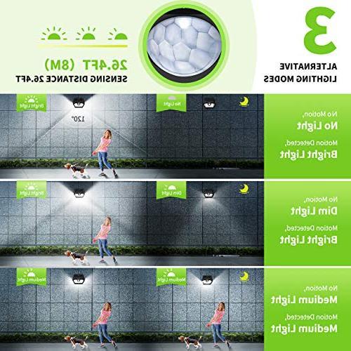 LITOM Solar Lights IP65 Sensor with Lighting 270° Angle and Install for Yard, Garage and