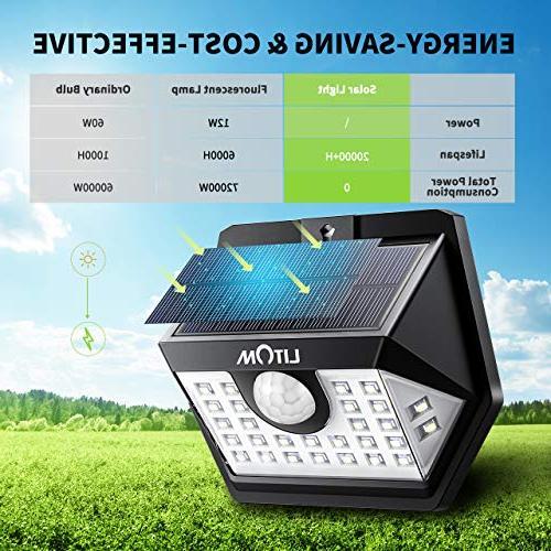 LITOM Upgraded LED Solar Outdoor, IP65 Waterproof Solar Sensor Lights with Lighting Modes, Angle Easy Install for Yard, Garage