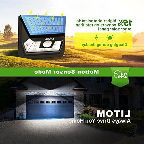 LITOM Solar Lights Outdoor, Wireless LED Sensor Lights for Yard Garage Shed Walkway Fence