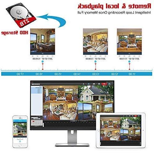 YESKAMO Wireless System 1080P LCD HD Monitor 4 2.0 CCTV Kit Built in Hard Drive Outdoor Monitoring