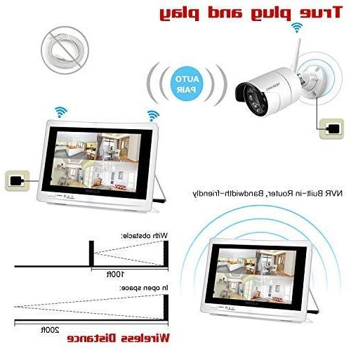 YESKAMO Wireless Security System 1080P HD Monitor 2.0 Megapixel Built in 2TB Hard Drive Outdoor Indoor Monitoring