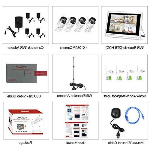 YESKAMO Camera System 1080P HD Monitor 2.0 Built in Hard for Home Outdoor Monitoring