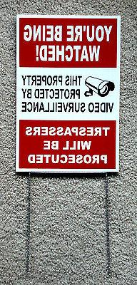 """YOU'RE BEING WATCHED  SIGN 8""""x12""""   NEW with Stake Security"""
