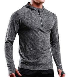 ANJUNIE Men's Athletic T-Shirt Elastic Long Sleeved Hoodie R