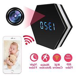 Mini Spy Camera Mirror Clock Wireless Hidden Wi-Fi Cameras H