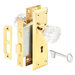 Prime Line E2311 Glass Knob & Brass Trim Mortise Caselock As