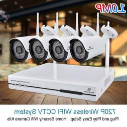 1TB HDD Wireless Home Security System Camera WIFI 4CH 720P C