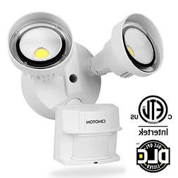 CINOTON 20W LED Flood Security Motion Light Outdoor, 2 Head,