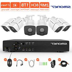 Security Camera System 1080P,SMONET 8 Channel 2MP Outdoor/In