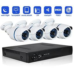 Security Camera System Outdoor cameras Abowone 4 Channels 10