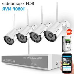 Security Camera System Wireless,Safevant 8CH 1080P Security