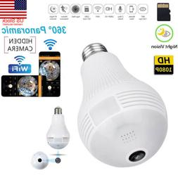 US HD1080P 360 Panoramic Hidden Wifi IP Camera Light Bulb Ho