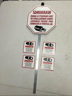 VIDEO SURVEILLANCE YARD SIGN and STAKE with 4 CCTV RECORDING