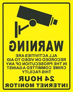 "Warning Video Surveillance Sign - Decal Self Adhesive "" 7.78"