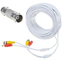 AT LCC 150ft White BNC Video and Power Cable Wire Cord w/Con