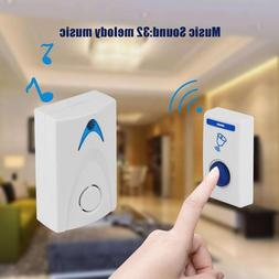 White LED Door Bell Wireless Doorbell Battery Powered 32 Tun