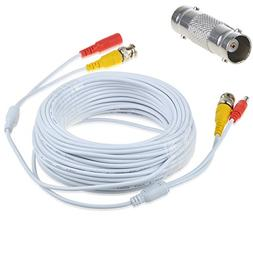 AT LCC 50ft White Video and Power BNC Cable for CCTV Securit