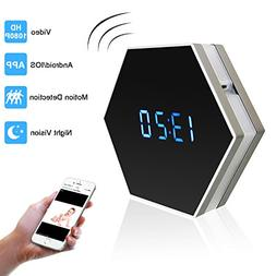 PELAY HD 1080P WIfi Alarm Clock Hidden Spy Camera Night Visi