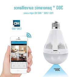 WIFI LED Bulb Panoramic Fish-eye Camera HD 960P Light Bulb T