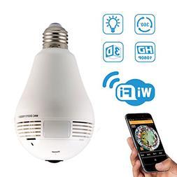 WiFi Light Bulb Security Camera, GERI 960P IP Camera 2 Way A