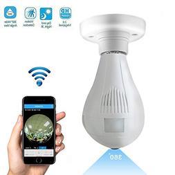 1080P Wifi Wireless IP Bulb Camera with Fisheye Lens 360° P