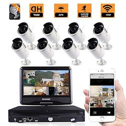 ZY 8CH HD WiFi Wireless Indoor Outdoor Home Security Camera