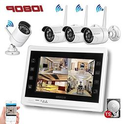 "YESKAMO Wireless Security Camera System 1080P 12"" LCD HD Mon"