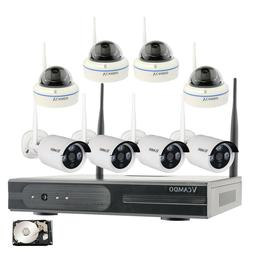 Wireless Home Surveillance Security 8 Cameras System with 1T