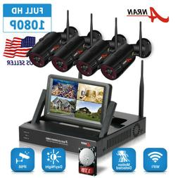 "ANRAN Home Security Camera System 1080P HD 4CH 1TB HDD 7""LCD"