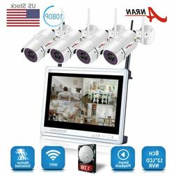 """Wireless Security Camera System 8CH 1TB HD 12""""Monitor Home S"""