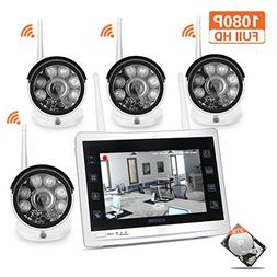 """YESKAM Wireless Outdoor Security Camera System with 12"""" 10"""