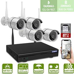 Wireless 8-Channel 1080P Security Camera System with 4pcs 72