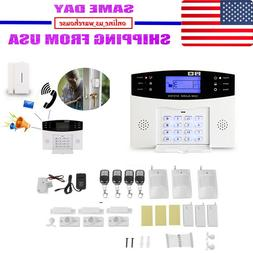 Wireless Wired LCD GSM SMS Home House Alarm System Security